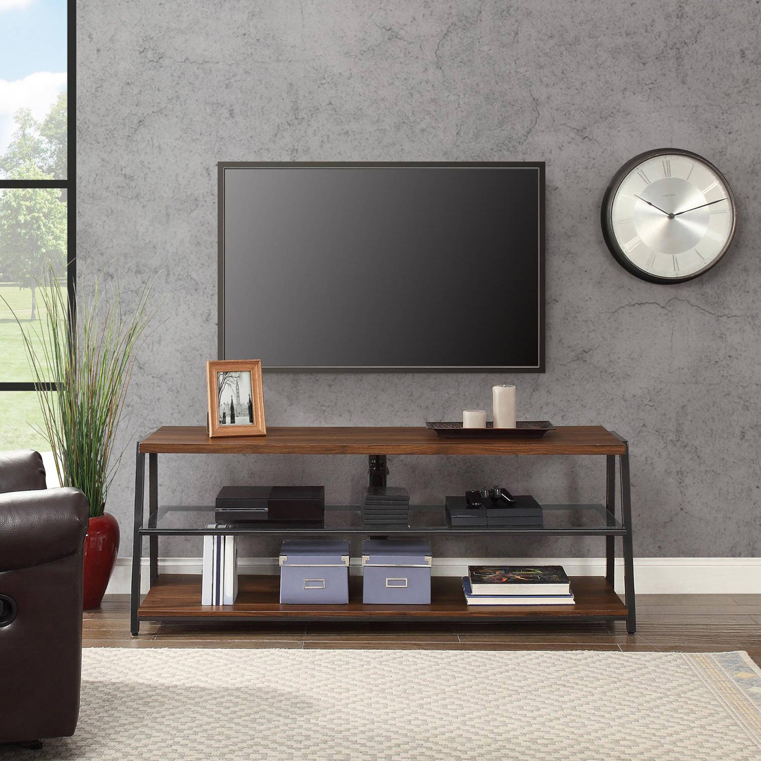 Mainstays 3-in-1 Medium Brown TV Stand for TV s up to 70 , Dimensions 59.75 W x 21 D x 22-55.75 H