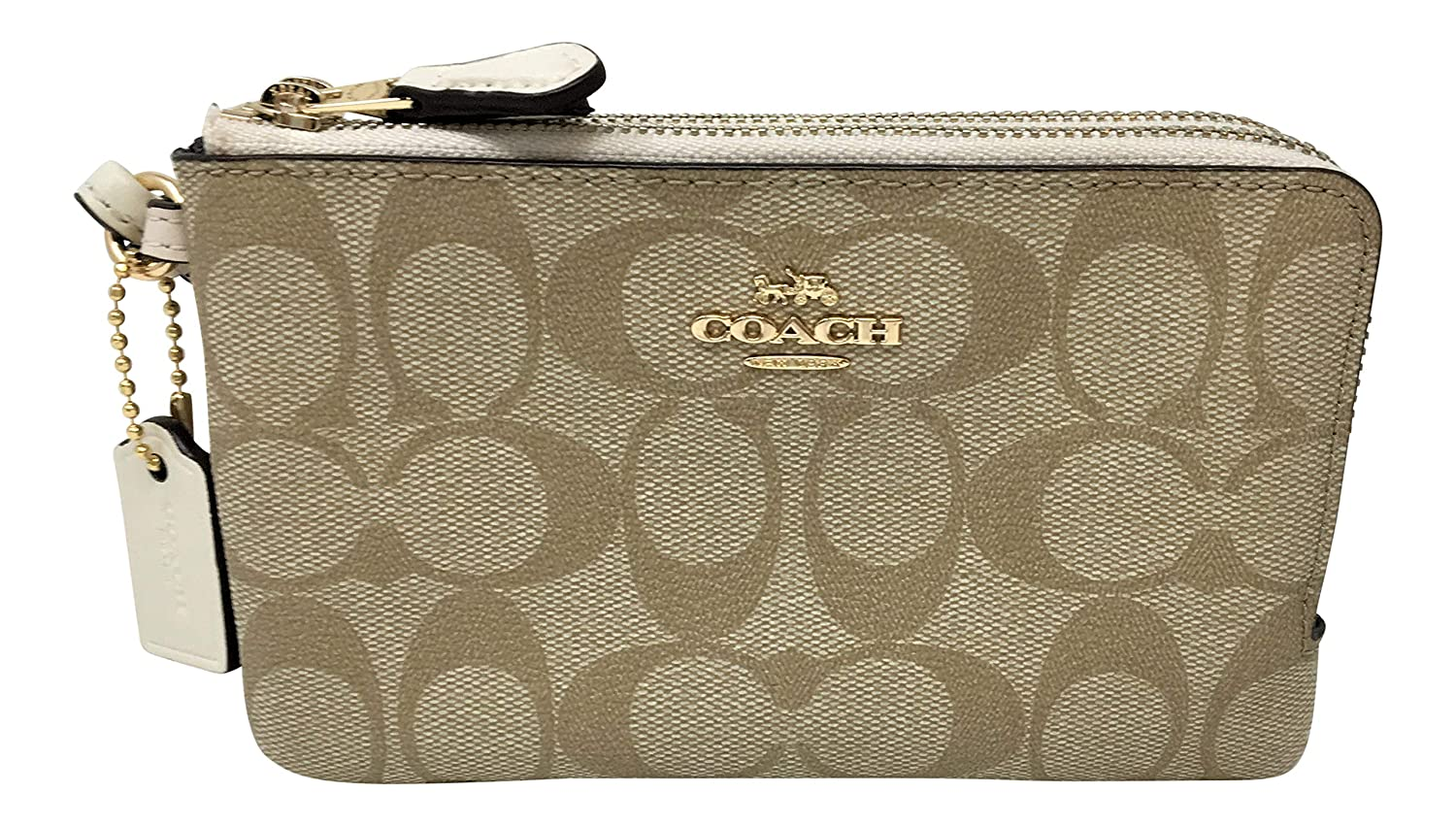 c9a2349802ba Coach Signature PVC Double Corner Zip Wristlet Black Smoke Black F87591   Handbags  Amazon.com