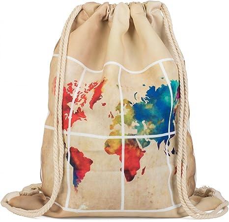 d6157997f8 styleBREAKER sacca sportiva in tela con stampa mappamondo effetto  acquerello su entrambi i lati, zaino