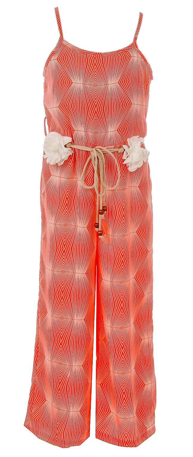 BNY Corner Big Girl Girls Jumpsuits Multi Pattern Romper Casual Summer Birthday Outfit Coral Geo 14 JKS 2127