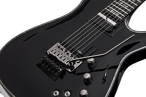 Amazon.com: Schecter Hellraiser C-1 Floyd Rose-Sustainiac Satin Black: Musical Instruments