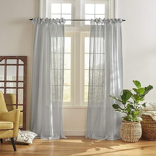 Elrene Home Fashions Vienna Tie-Top Sheer Window Curtain Panel, 52 x 84 1, Dusty Blue