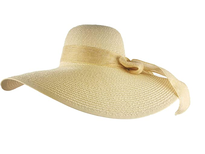 30e99cf1e DRONGO Beach Hat for Women, Foldable Sun Hat Floppy Wide Brim Straw Hat  with Big Bowknot