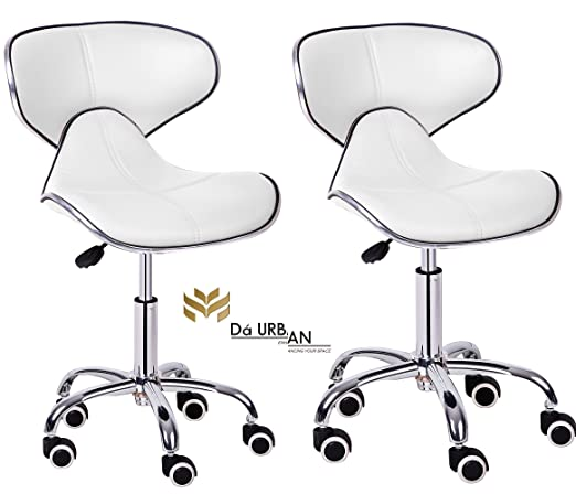 Da Urban Height Adjustable White Horse (Set of 2) Cafeteria & Bar Wheels Stool/Chair (ISO and BIFMA Certified)