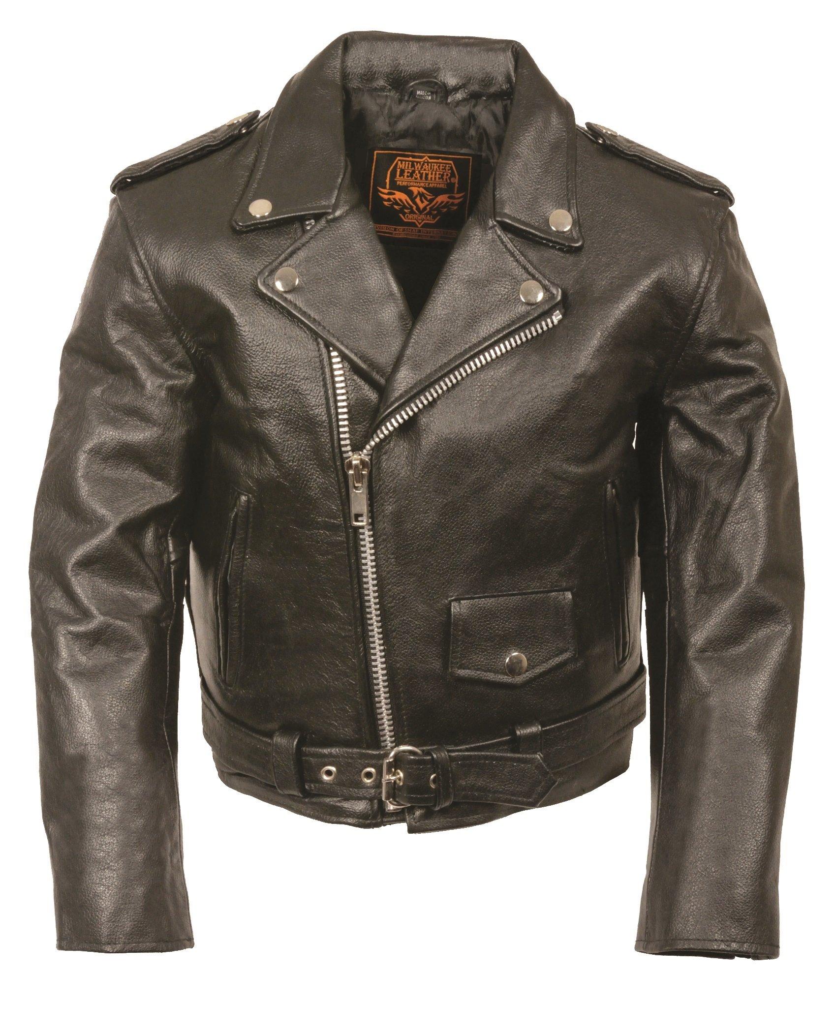 Milwaukee Leather Kids Basic Motorcycle Jacket (Black, X-Large)