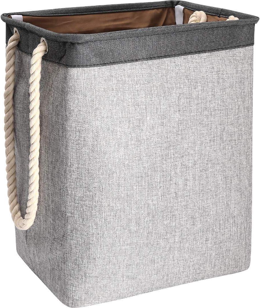 Laundry Basket Foldable Storage Bag Dirty Laundry Fabric Toy Clothes Sundries Storage Basket Cotton Rope Handle Detachable Bracket Fashion Design