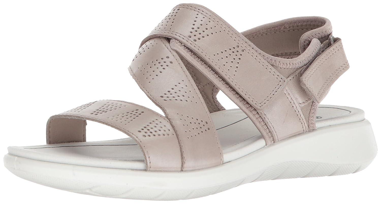 Moon Rock Silver ECCO Womens Soft 5 Cross Strap Flat Sandal