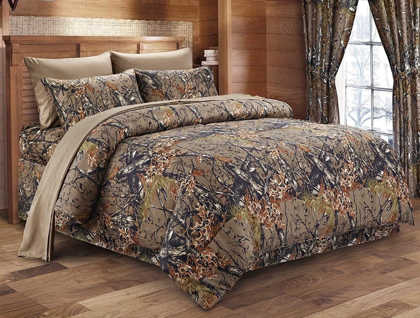Regal Comfort The Woods Hunter Camo Comforter Natural Brown - Queen 86 x 94