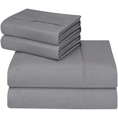 Utopia Bedding Bed Sheet Set - Soft Brushed Microfiber Wrinkle Fade and Stain Resistant 4-Piece Bedding Set (Queen,Grey)