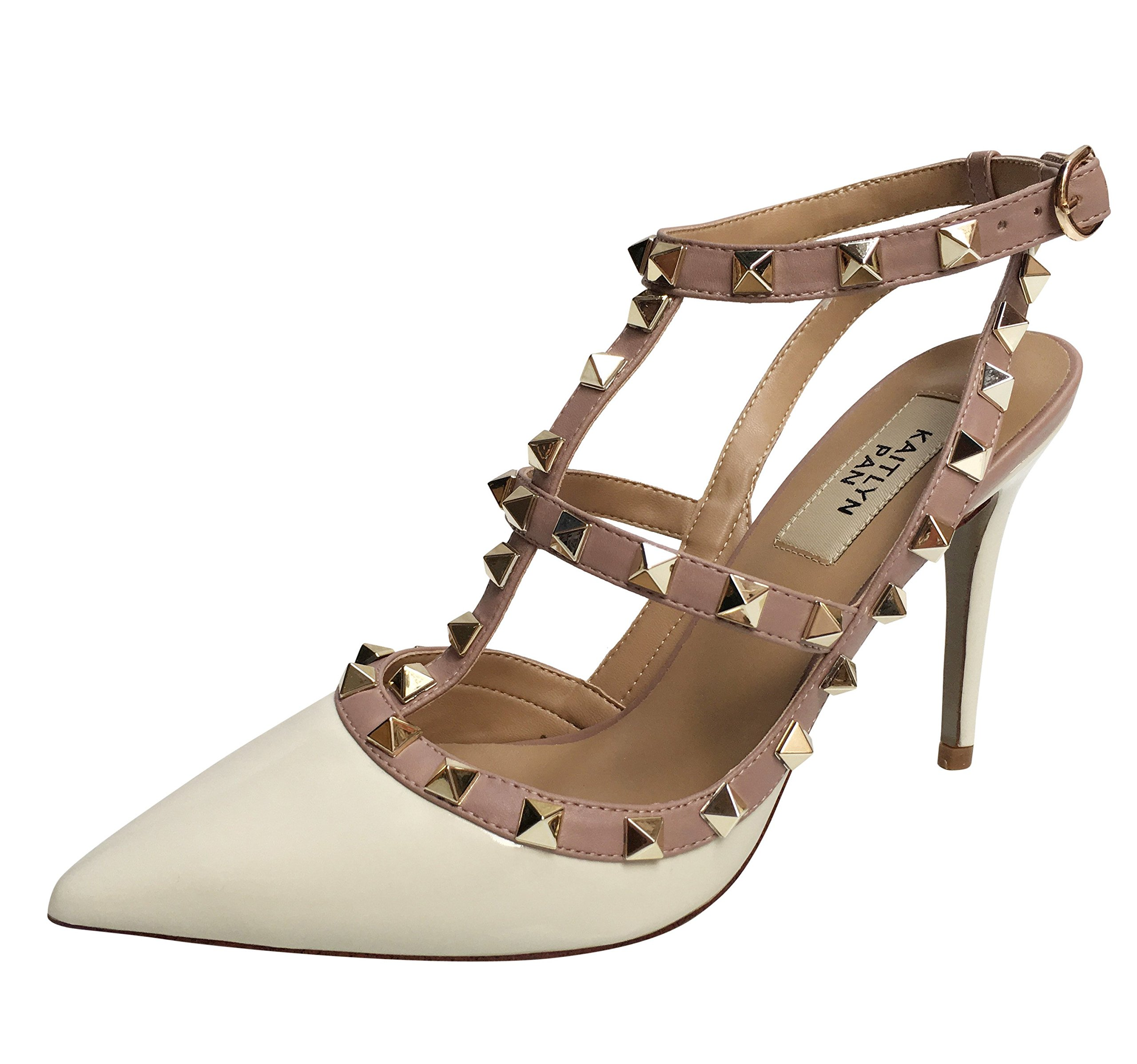 Kaitlyn Pan RockStud Slingback High Heel Leather Pumps