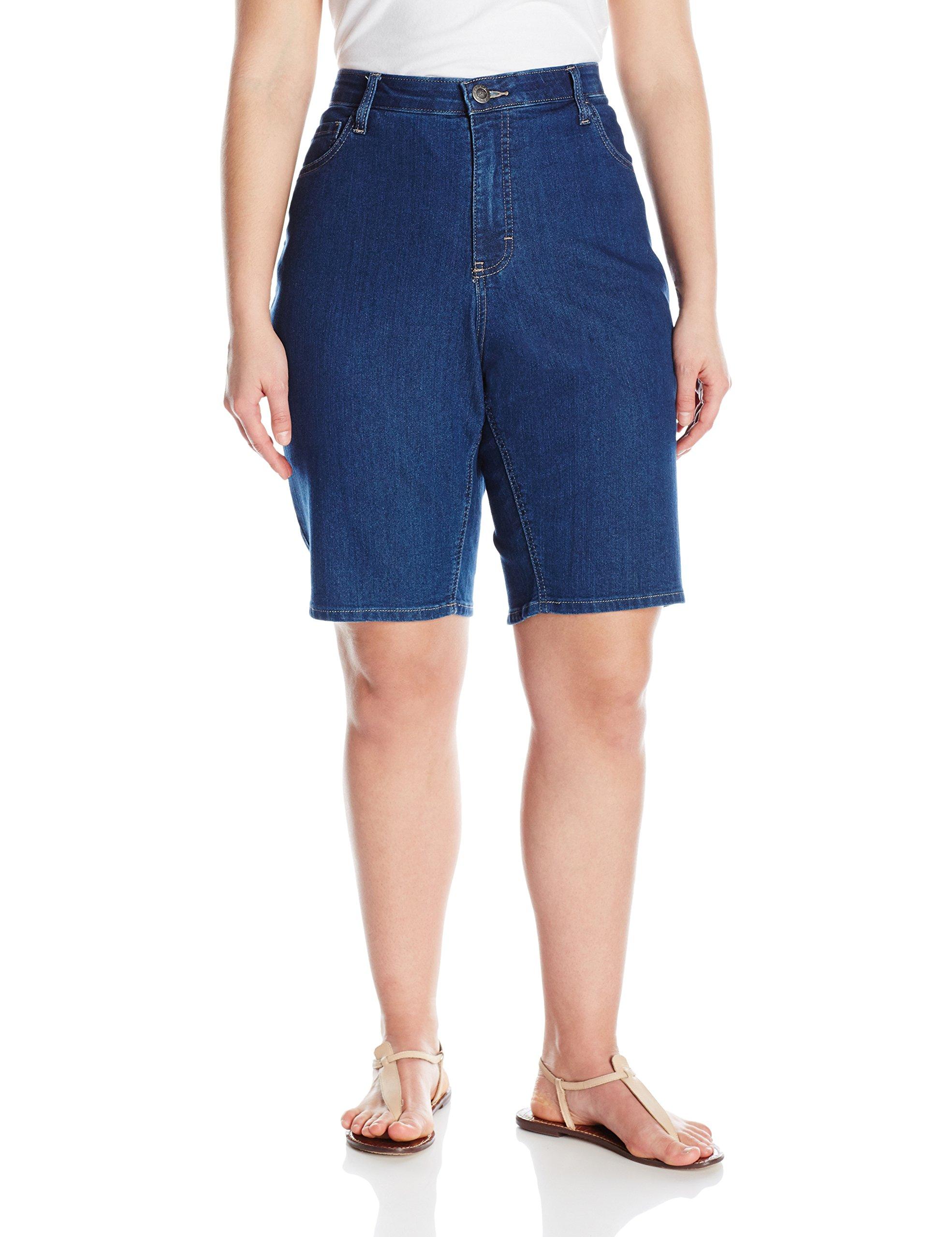 Riders by Lee Indigo Women's Plus Size Comfort Waist Bermuda Short, Blue Suede, 24 W