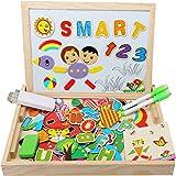 Kolly [Materiale aggiornato] Lavagna Magnetica per Bambini Lavagnetta Puzzle Magnetico LegnoGiocattolo di CavallettoDouble Face per 3 4 5 anni Apprendimento Educativo