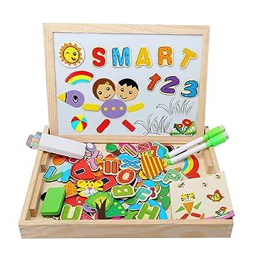 [Material actualizado] Juguetes Madera Educativos Pizarra Magnética Infantil Puzzle Magnetico Rompecabezas Educativo Tablero de Dibujo de Doble Cara ...