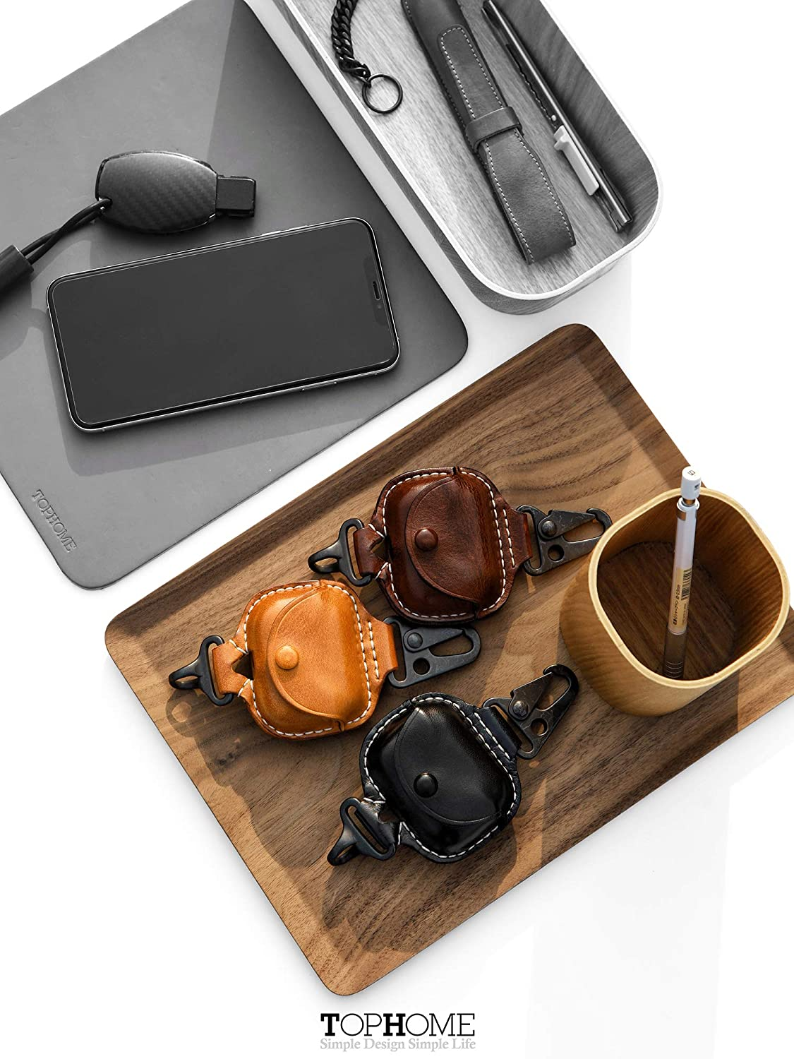 Yellow Brown,1 Piece TOPHOME AirPods Pro Case Leather Genuine Premium Leather Cover for AirPods Pro Case with Fine Copper Carabiner//Earbuds Accessories