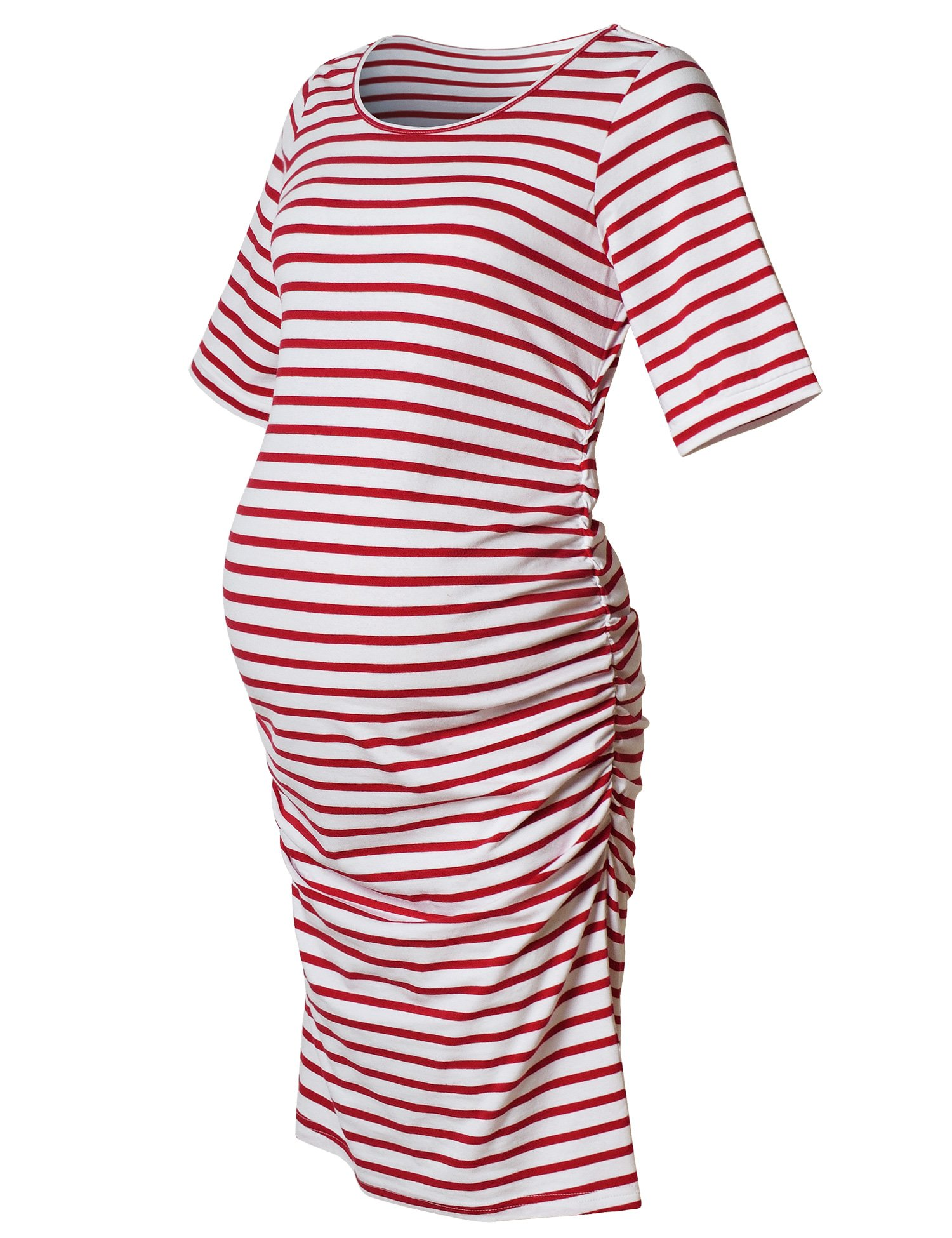 Maternity Dress,Bodycon Maternity Clothes for Women,Casual Short Sleeve Ruched Sides,Red and White Stripe XXL