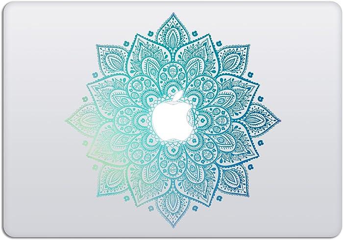 Laptop Stickers MacBook Decal - Removable Vinyl w/Glowing Apple Logo Diecut - Mandala Decal Green Blue Colorful Skin - Best Decorative Sticker - Artsybb