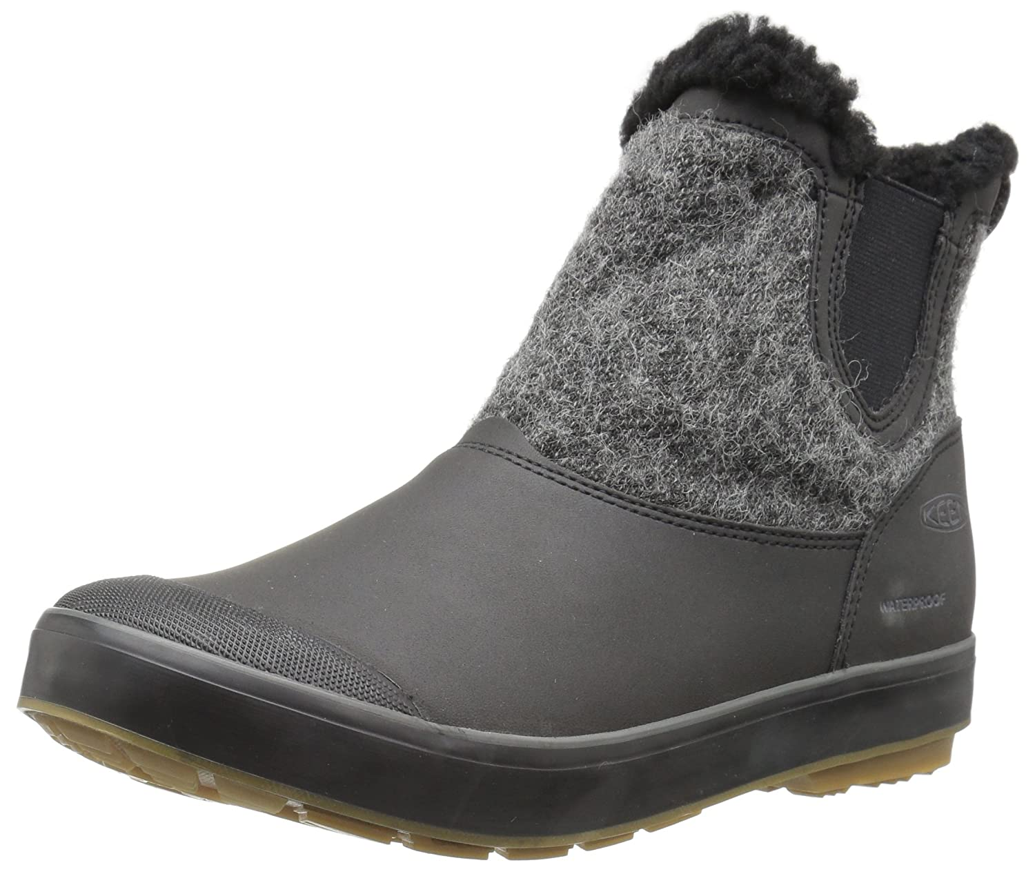 KEEN Women's Elsa Chelsea Waterproof Boot B01N420YGV 9 B(M) US|Black Wool