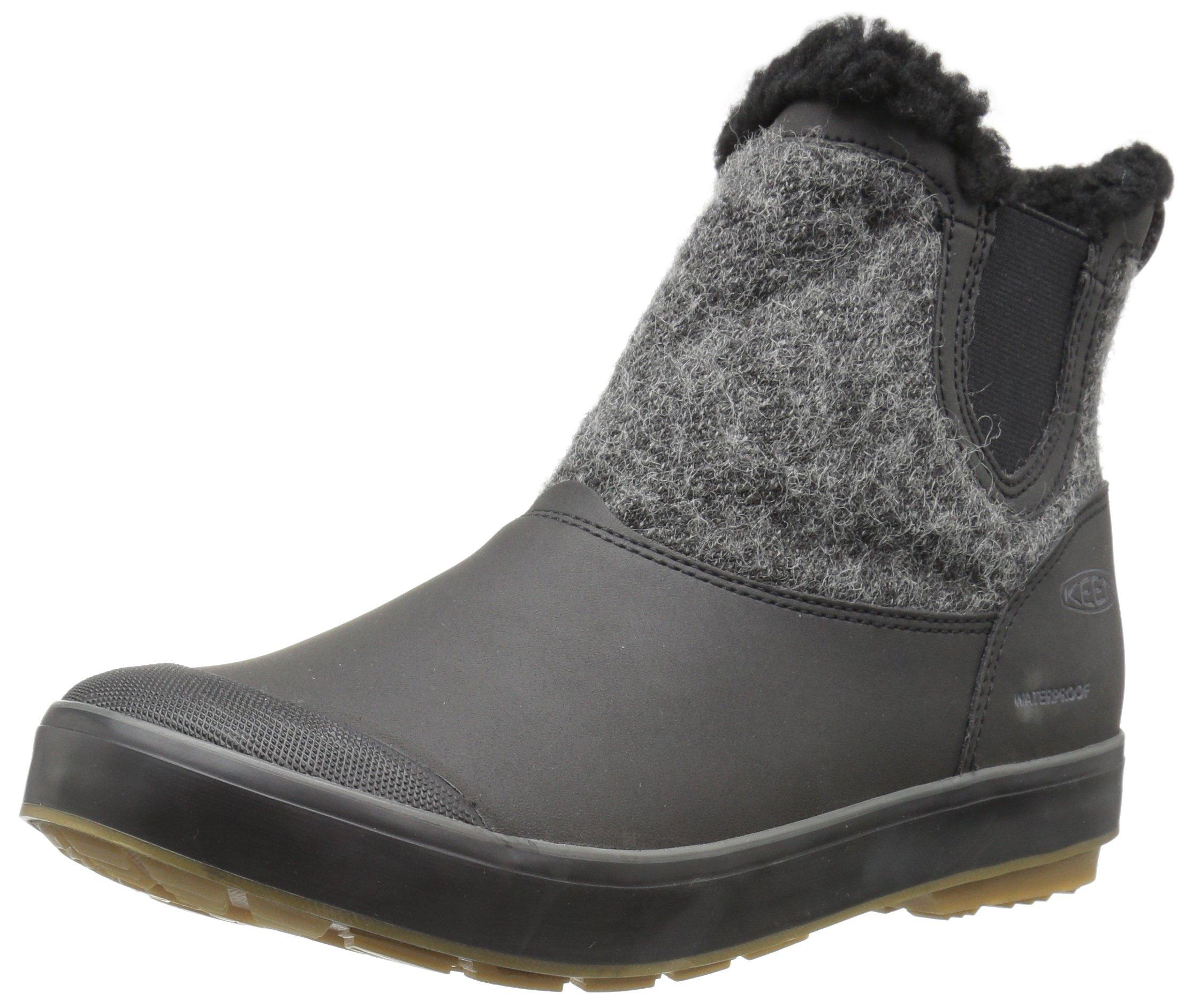 KEEN Women's Elsa Chelsea WP-w Snow Boot, Black Wool, 8 M US