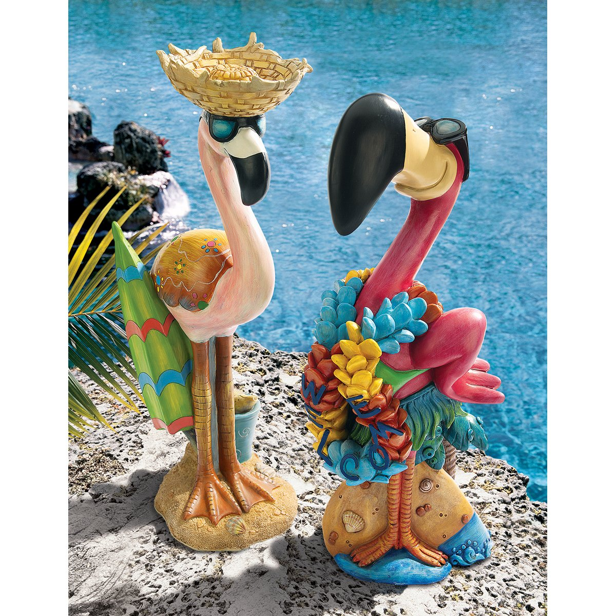Superior Amazon.com : Design Toscano Pink Flamingo Garden Statues Luau Larry And  Flamingo Frank, Multicolored : Garden U0026 Outdoor