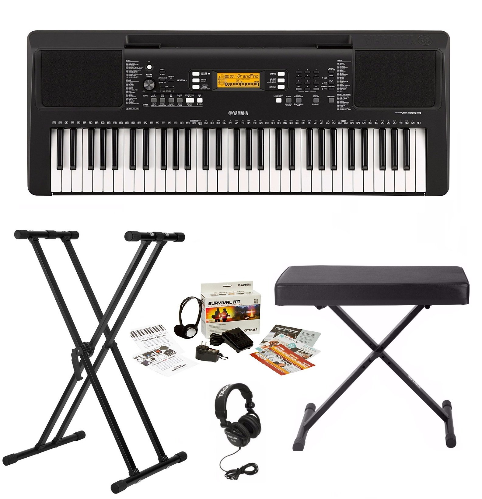 Yamaha PSRE363 Keyboard with Survivalkit, Headphones, Knox Stand and Bench by YAMAHA
