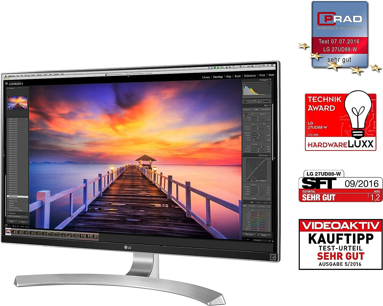 LG 27UD88-W - Monitor Serie 4K Ultra HD, IPS, 3840x2160 pixeles, 5 ms, 16:9, 350 cd/m2, Blanco, 27 pulgadas (69 cm)