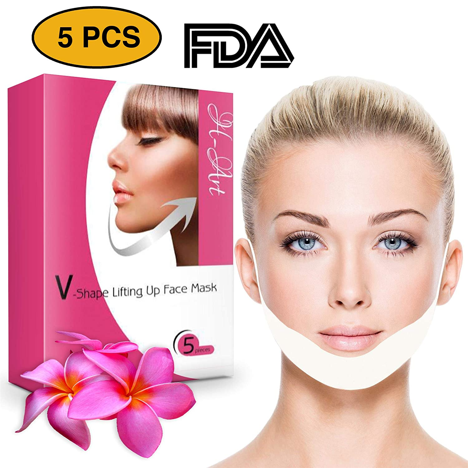 H-Art Chin Up Patch, Face Lift, V line, Double Chin Reducer, Contour Lifting Firming Moisturizing Mask - 5 Strips