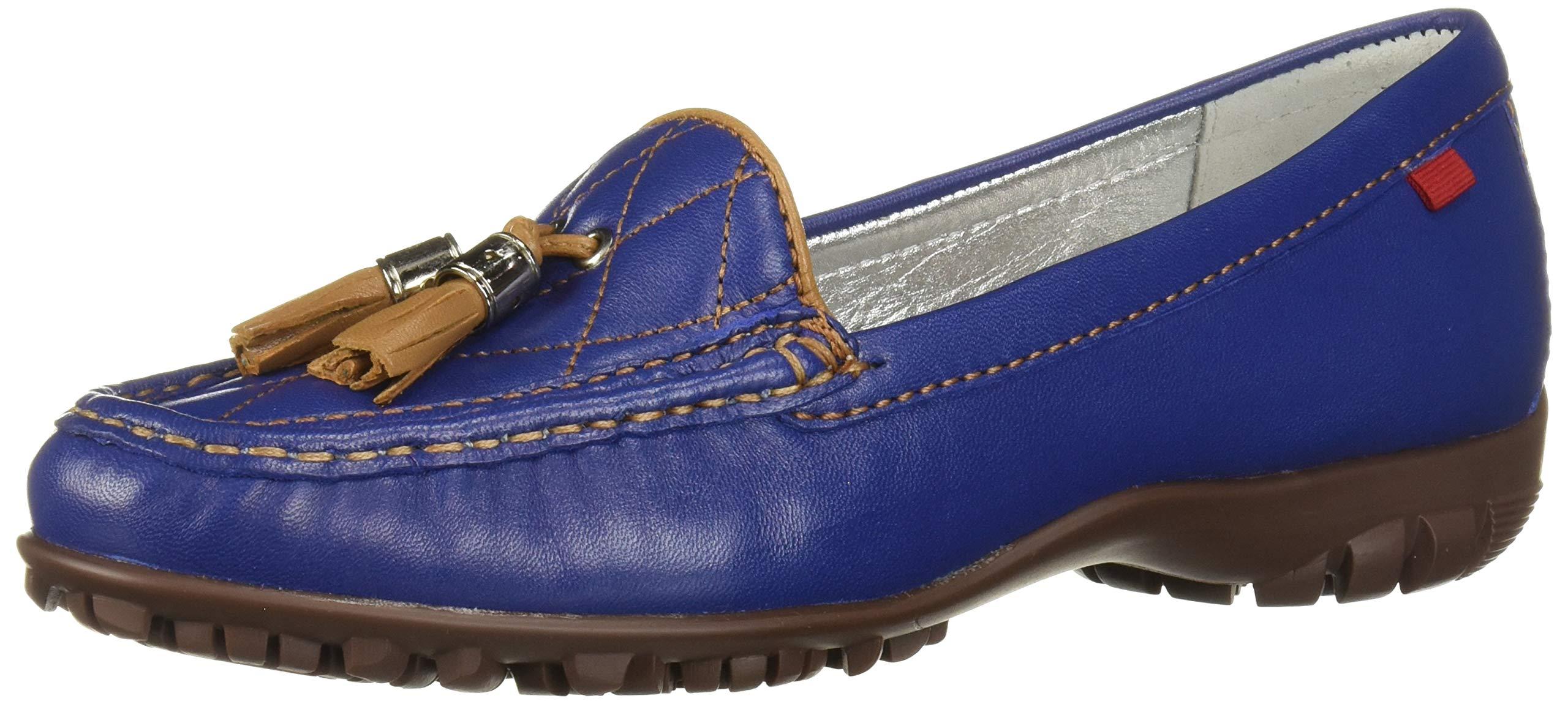 Marc Joseph New York Women's Womens Genuine Leather Made in Brazil Wall Street Golf Shoe Athletic Shoe, Vintage blue nappa/Tan, 9 M US by MARC JOSEPH NEW YORK