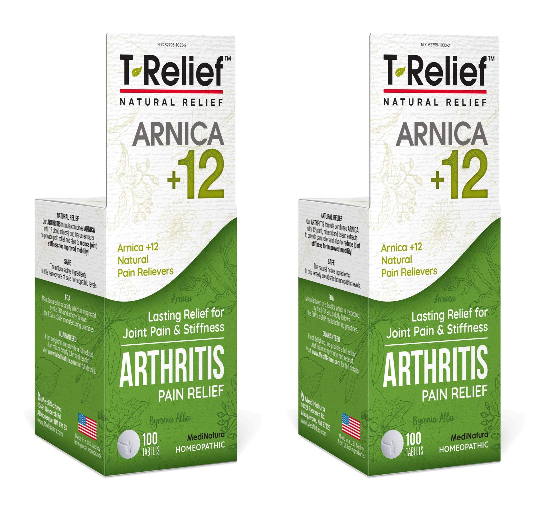 MediNatura T-Relief Arthritis Pain Relief with Arnica + 12 Active Pain Relievers- 100 Tablets (Pack of 2)