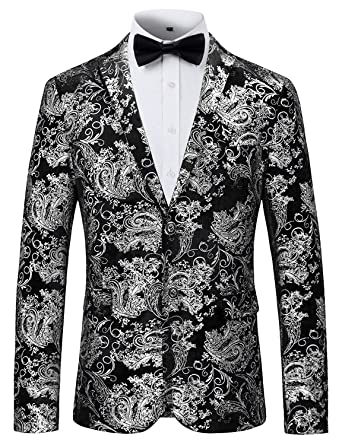 f3b67781986b5 PIZOFF Men's Luxury Paisley Blazer Dress Suit Notched Lapel Slim Fit Dress  Floral Suit Jacket AT0001