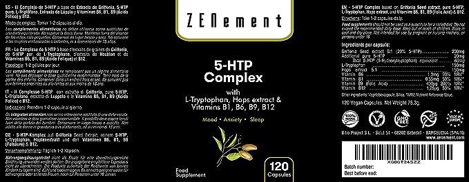 5-HTP Complex con L-triptófano, extracto de Lúpulo y vitaminas B1, B6, B9, B12, 120 Cápsulas, para el estado de ánimo, el sueño, el dolor, la ansiedad y la obesidad, No GMO, 100%