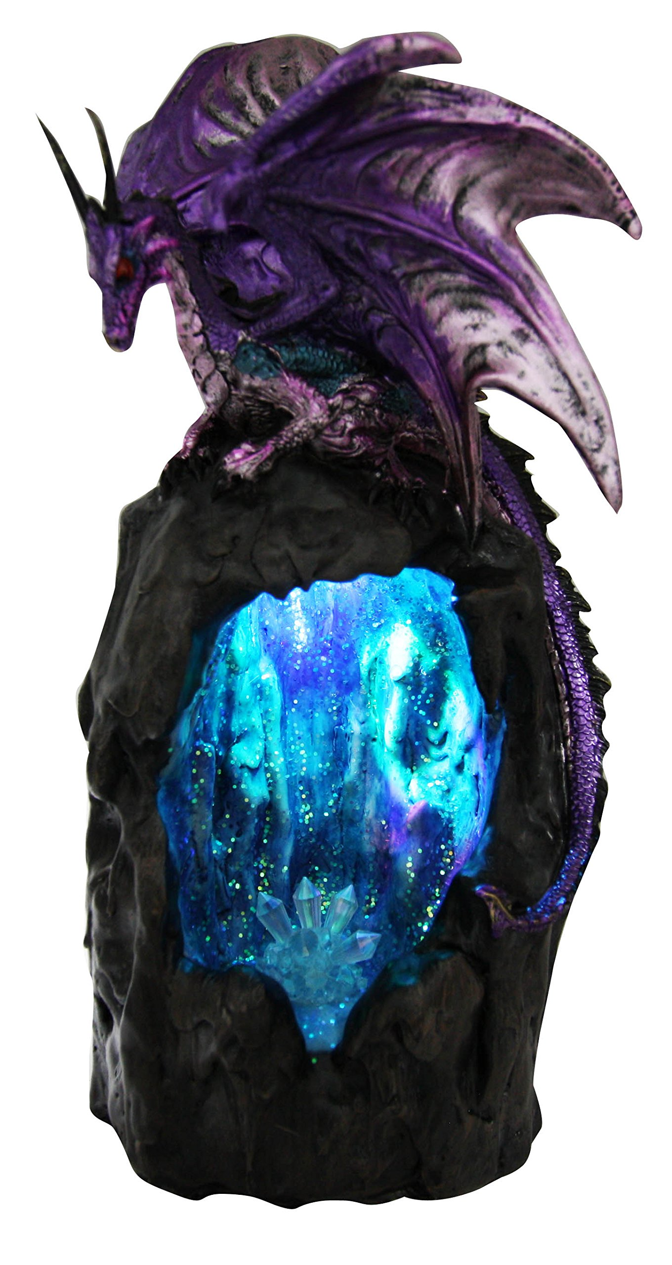 Ebros Purple Azurite Quartz Dragon Climbing On Gemstone Mountain Backflow Incense Burner Figurine Faux Stone by Ebros Gift (Image #3)