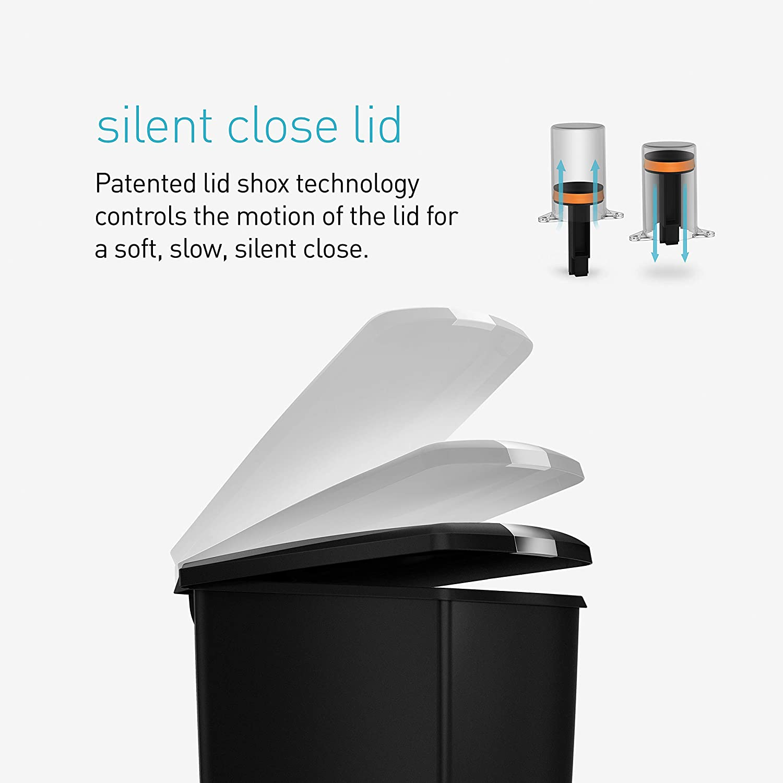 simplehuman Slim Kitchen Step Trash Can With Secure Slide Lock, 40 Liter / 10.6 Gallon, Black Plastic: Home & Kitchen