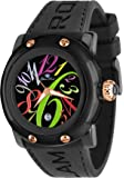 Glam Rock Unisex Quartz Watch With Black Dial Analogue Display And Silicone Bracelet 0.96.2389