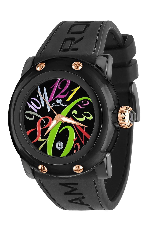 Glam Rock Unisex-Armbanduhr Analog Silikon Schwarz 0.96.2389
