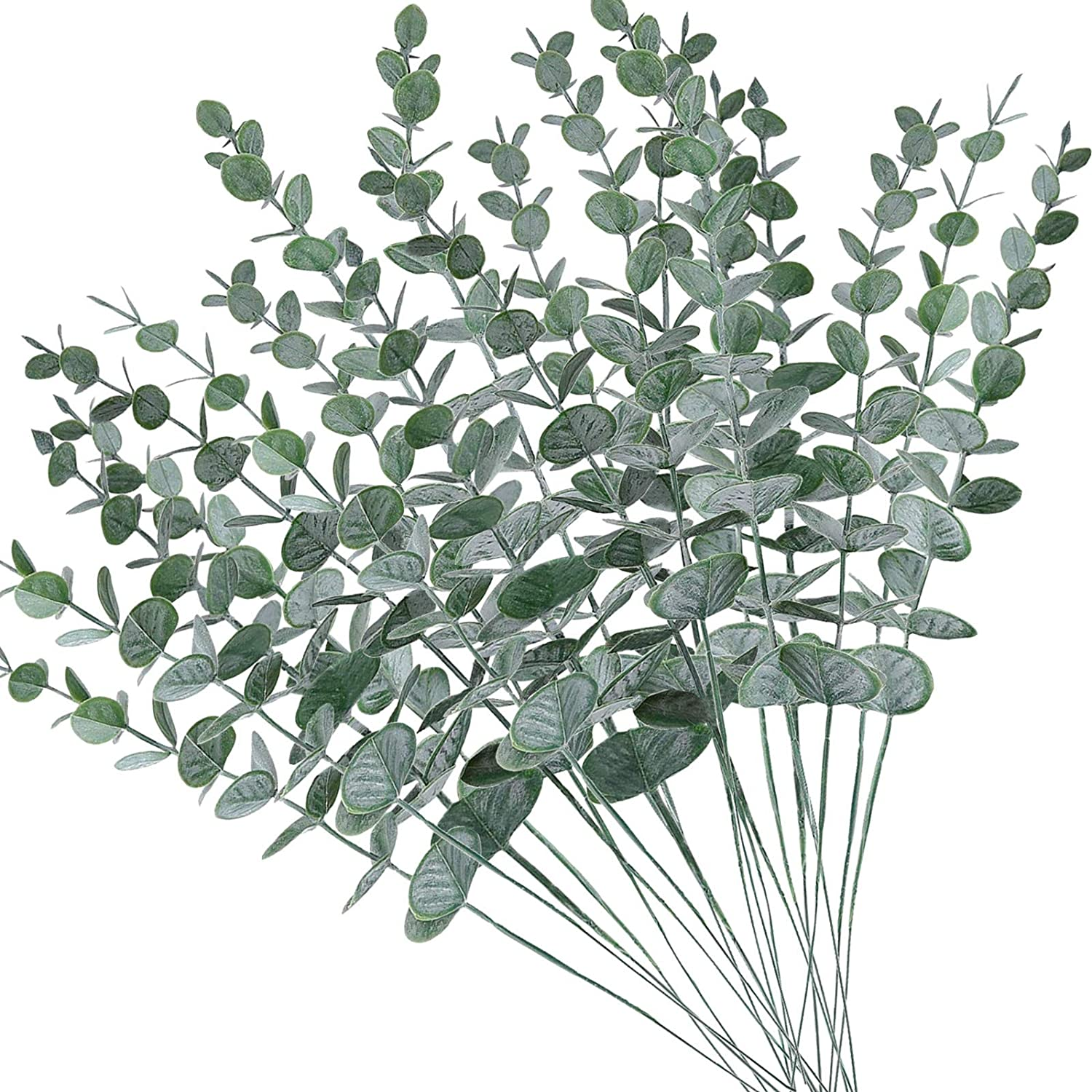 AUMVEYI 20pcs Artificial Eucalyptus Stems Leaves Fake Gray Green Eucalyptuses Plant Branches Faux Greenery Stems for Wedding Bouquet Flower Arrangements Office Home Kitchen Decor