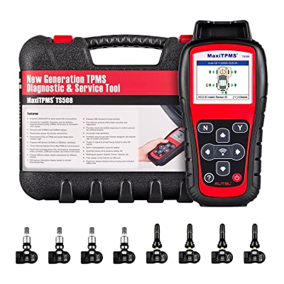 Autel MaxiTPMS TS508 Relearn Tool for TPMS Programming, TPMS Reset, Sensor Activation, Key Fob Testing, Relearn by OBD, Tire Type/Pressure Selection, with 8pcs MX-Sensors, Update Version of TS408: Automotive