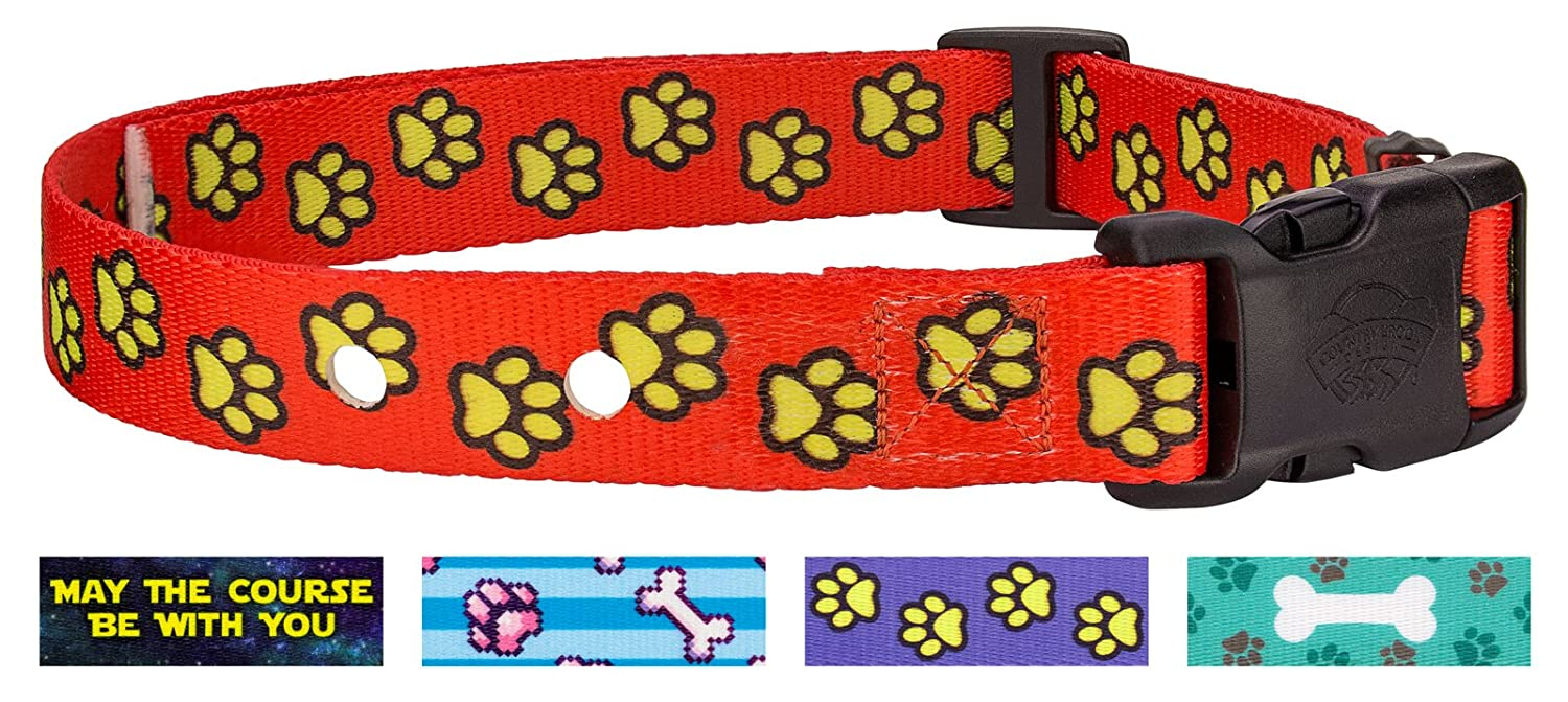 (Red Busy Paws) Country Brook Design Replacement Collar for Dog Fence Receivers Dog's Life Collection