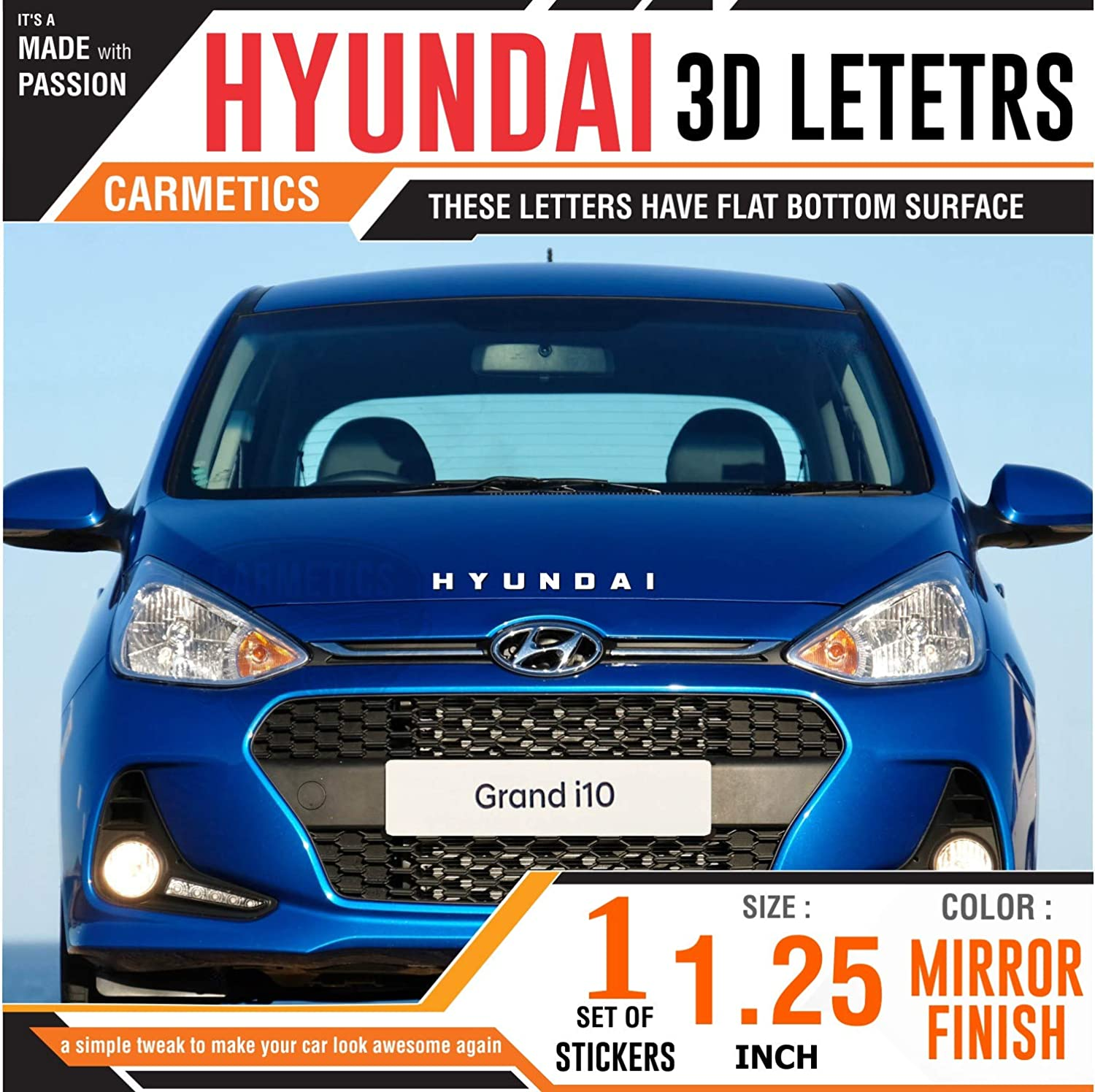Carmetics hyundai 3d letters stickers logo emblem bonnet stickers accessories with free chrome petrol diesel stickers for hyundai grand i10 mirror finish