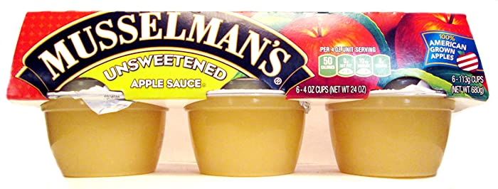Musselman's Unsweetened Apple Sauce (Pack of 3) 6 - 4 oz Cups per Pack (18 Cups Total)
