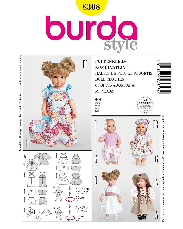 Burda 8308 Schnittmuster Puppenkleider Kleid Hose (Puppen, Gr, M - L ...