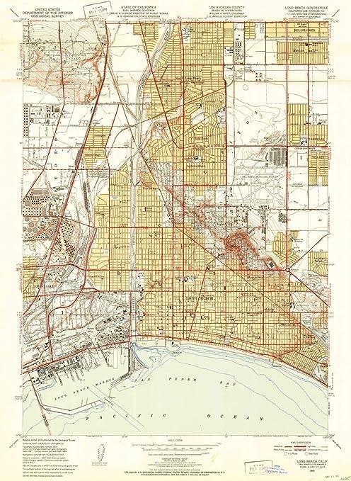 Amazon.com : YellowMaps Long Beach CA topo map, 1:24000 ...