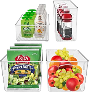 Sorbus Plastic Storage Bins Stackable Clear Pantry Organizer Box Bin for Organizing Kitchen Fridge, Food, Snack Pantry, Fruit, Vegetables, Bathroom, Wide & Narrow Deep Container Set