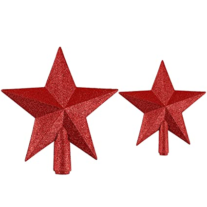 resinta glittered christmas tree topper star topper for christmas tree decoration 2 sizes red