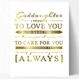 """Goddaughter Gift, Unique Baptism Gift, Christening Gift or New Baby Gift for Godchild - Gold Foil Typography Goddaughter Quote Artwork Gold Foil Print by Ocean Drop Designs (11x14"""")"""