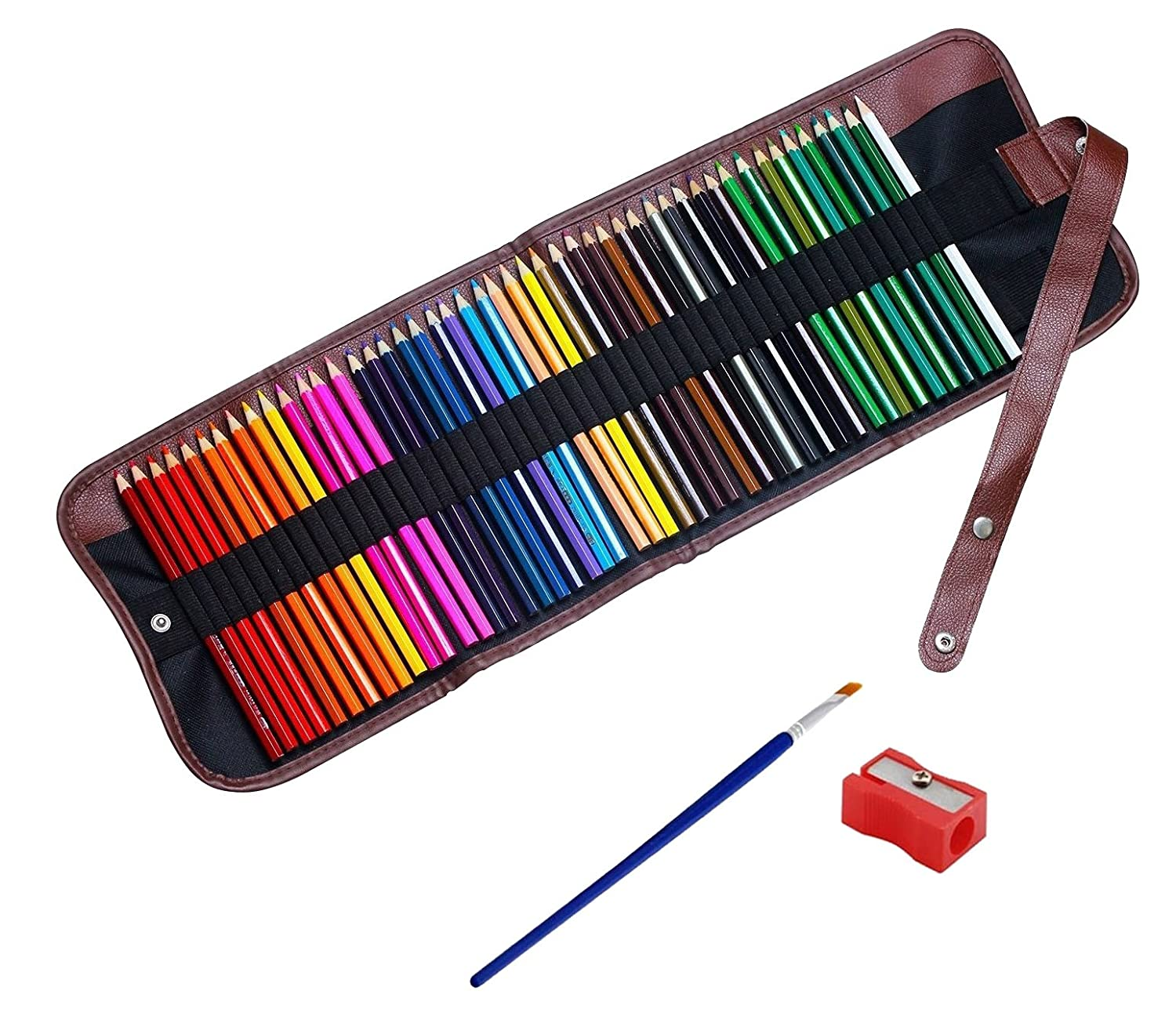 WONGYEAH Colored Watercolor Water Soluble Colored Pencils For Art Students and Professionals, Assorted Colors For Sketch Coloring Pages For Kids and Adults Includes Canvas Roll Pencil Case - 48 Colors