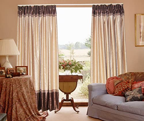 Wide Width Heavy Solid Embossing Blackout Thermal Sand Color Pinch Pleat Curtains Draperies 100 WX84 L
