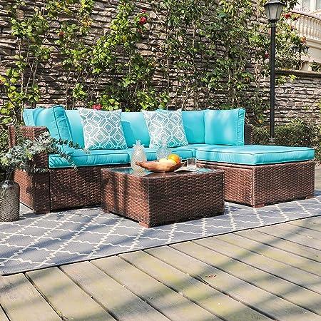 OC Orange-Causal 5 Piece Patio Furniture Sectional Sofa, Outdoor Brown PE Rattan Wicker Sofa with Turquoise Cushions Modern Glass Top Coffee Table Ottoman, Garden, Pool, Backyard
