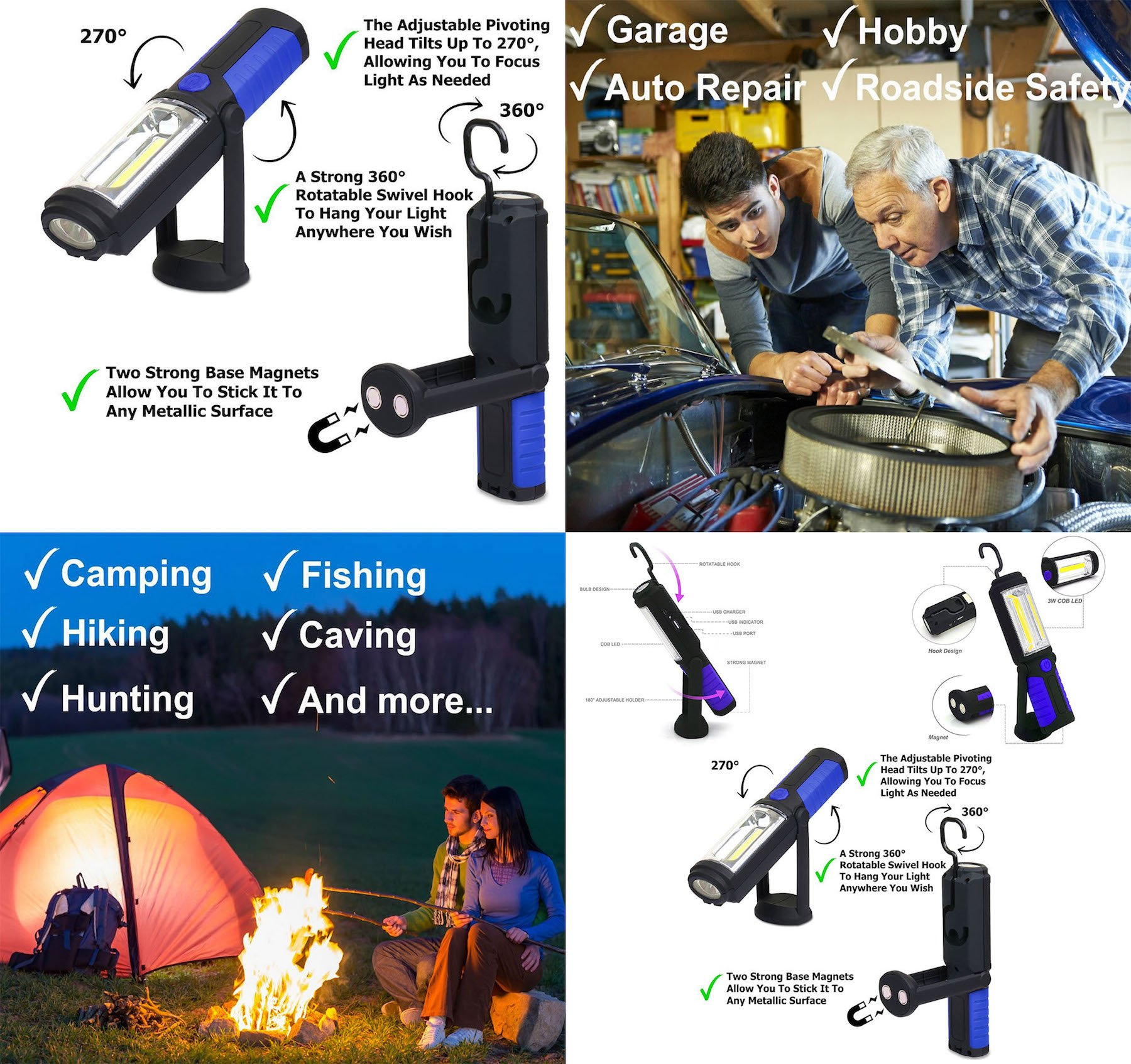 Cordless Rechargeable 2200mAh COB LED Flashlight 650Lm 7W Work Light Lamp Magnetic Support Stand Swivel Hook Great for Camping Household Workshop Automobile (Blue) by Casewarehouse (Image #5)