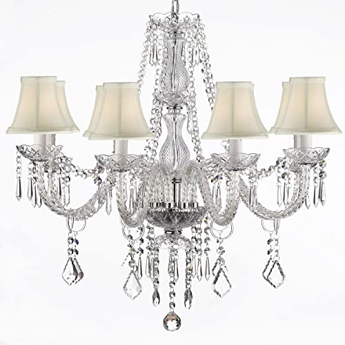 Crystal Chandelier Lighting 28ht X 28wd 8 Lights Fixture Pendant Ceiling Lamp White Shade