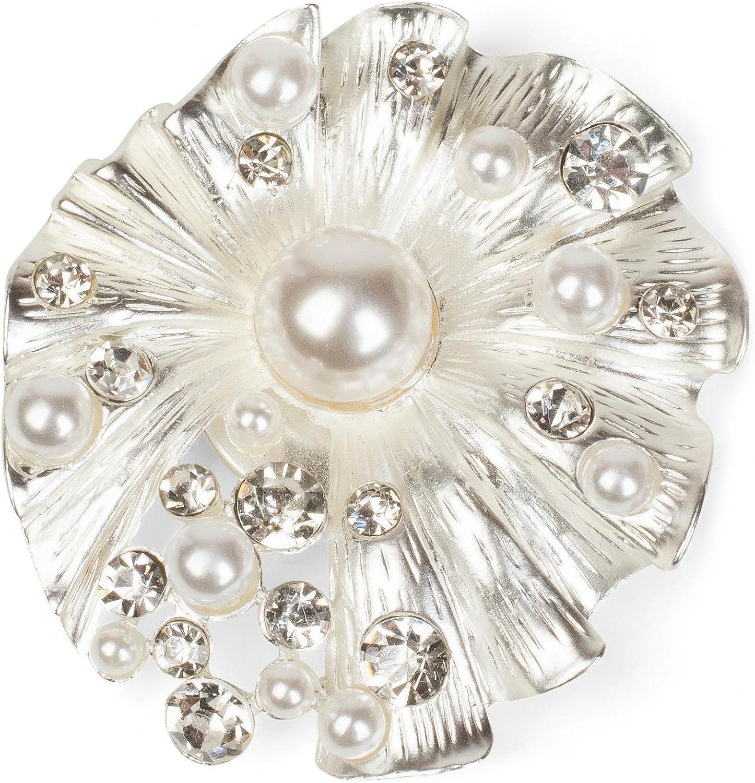 Femme 05050032 Broche Foulards ou Ponchos styleBREAKER Pendentif d/écoratif magn/étique en Forme de Coquillage avec des Strass et des Perles pour /écharpes